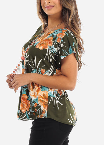 Floral Olive Blouse With Necklace