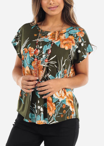 Image of Floral Olive Blouse With Necklace