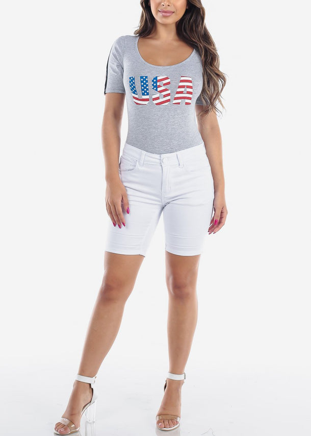 USA American Flag 4th Of July Graphic Print Short Sleeve Grey Bodysuit On Sale For Women Junior Ladies