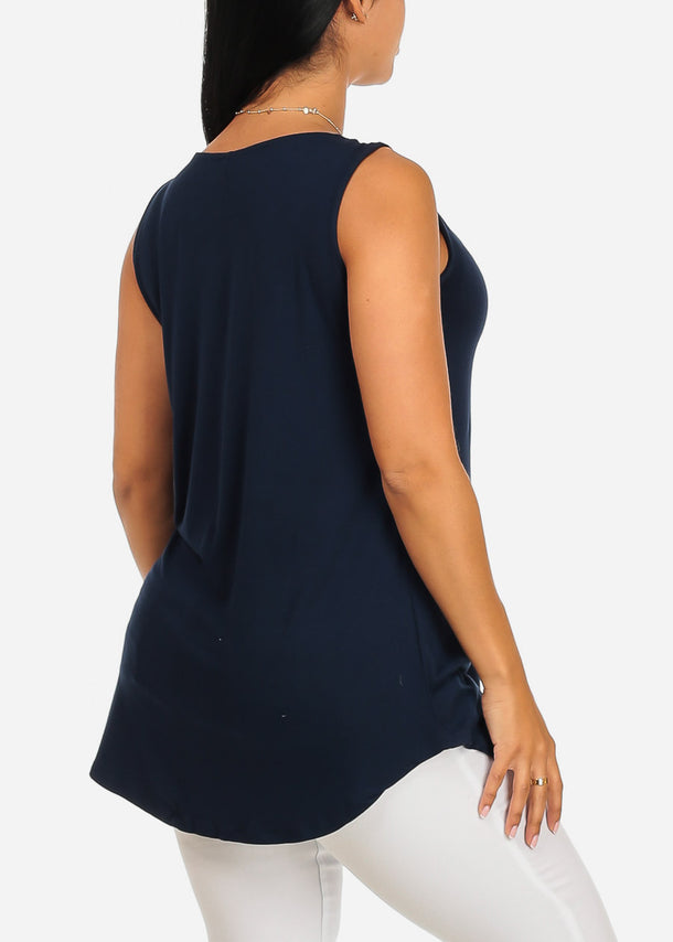 Sleeveless Casual Navy Tank Top