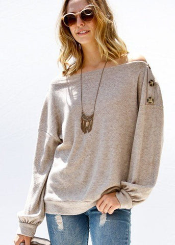 Off Shoulder Knit Taupe Sweater
