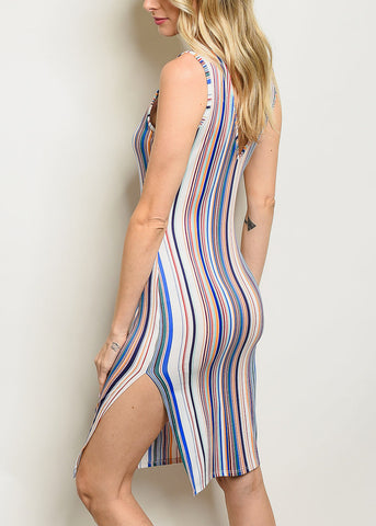 Sleeveless Stripe Bodycon Dress