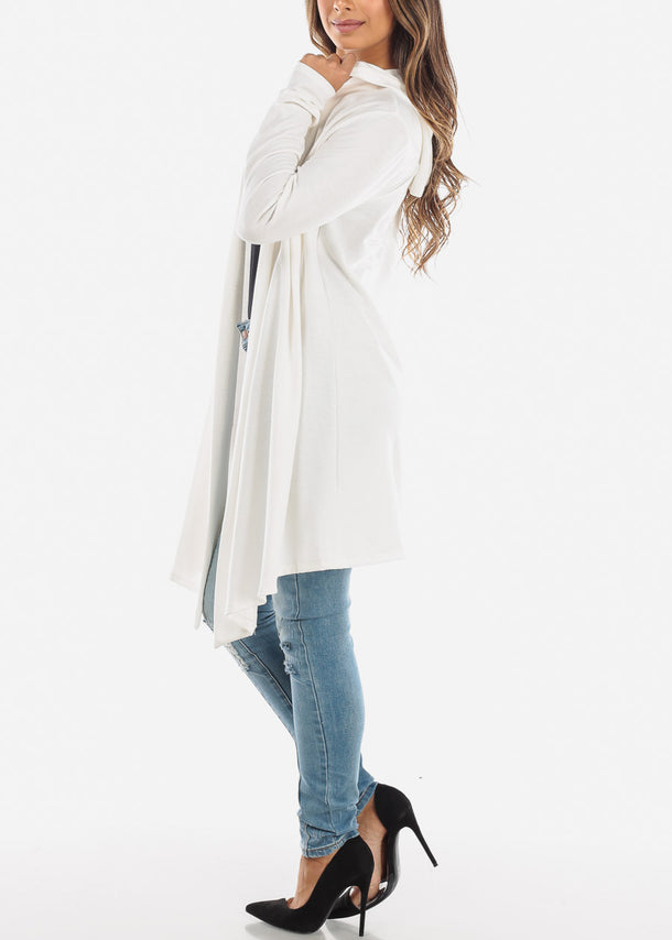 White Long Hooded Cardigan