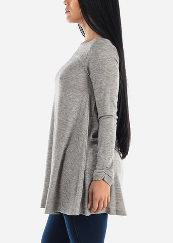 Image of Back Cutout Grey Tunic Top