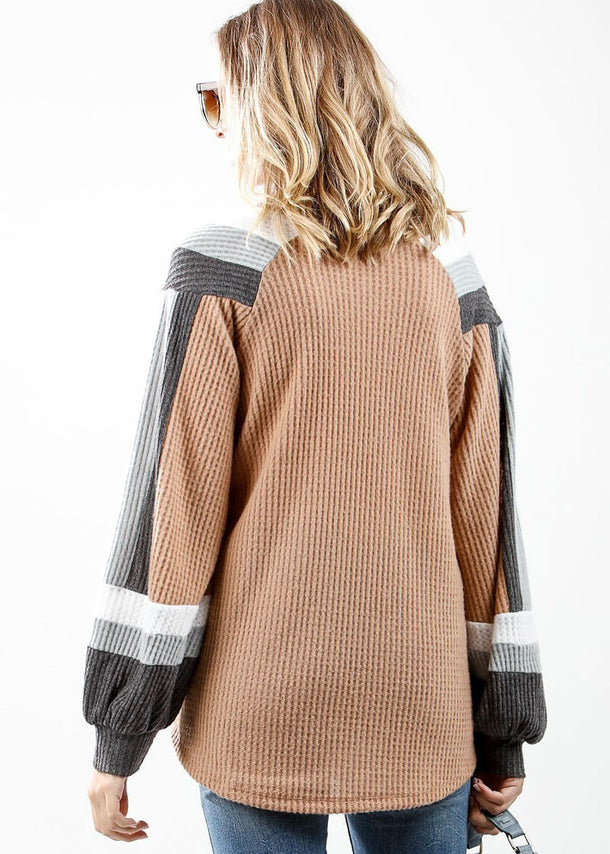 Long Sleeve Multicolor Waffle Sweater