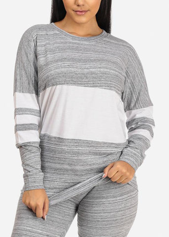 Image of Grey Striped Heather Long Sleeve