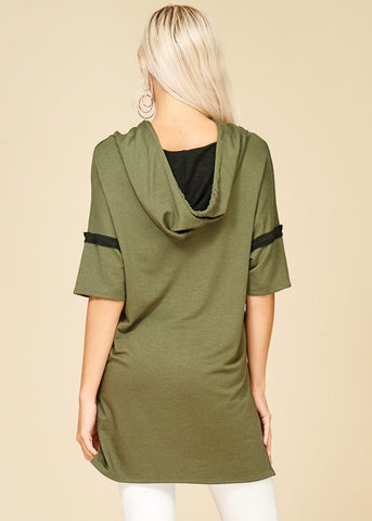 Cut Out Neckline Olive Tunic Top