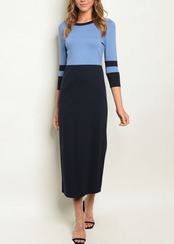 Image of Colorblock Bodycon Navy & Blue Dress