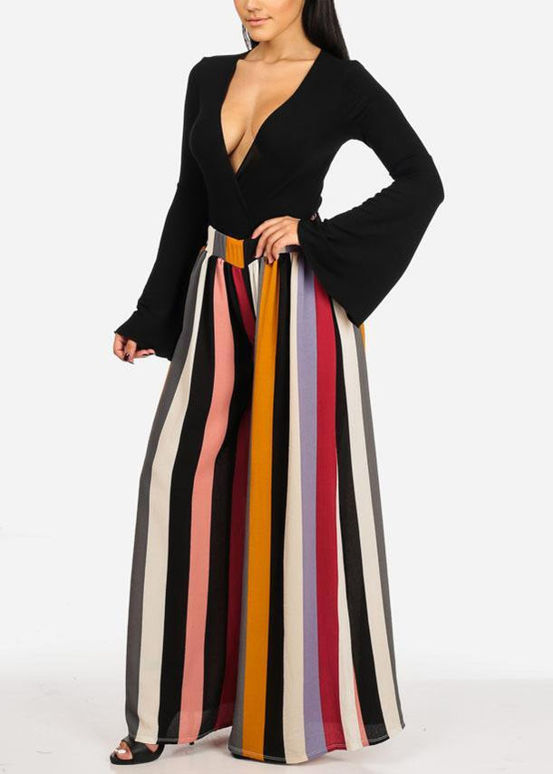 Multi Color Striped Wide Leg Palazzo Pants