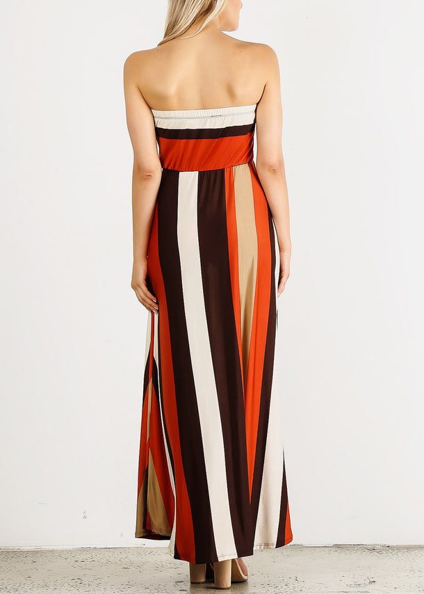 Strapless Stripe Maxi Dress