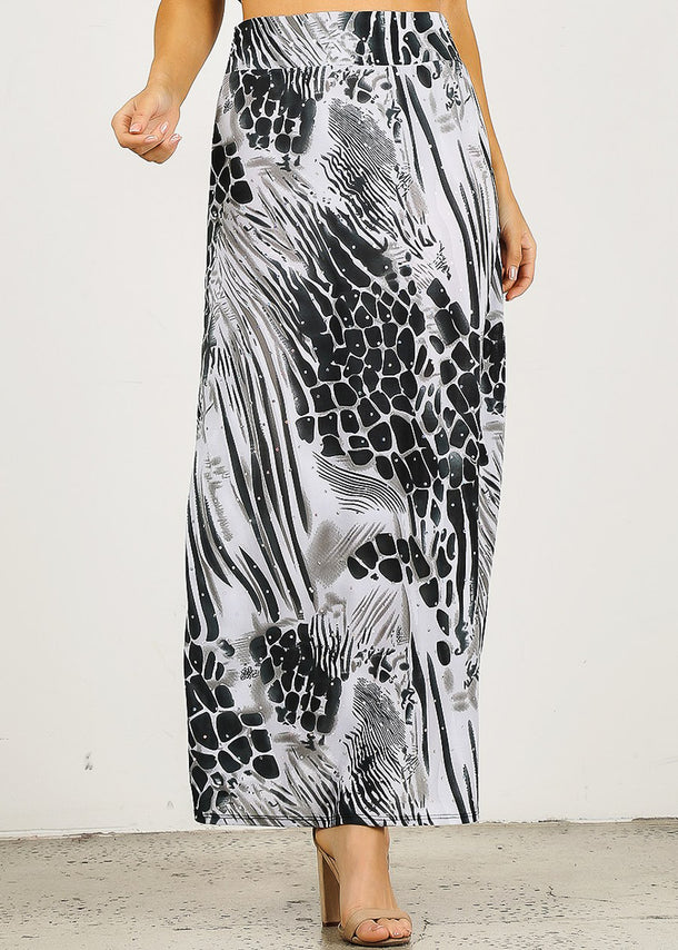High Waisted Animal Print Maxi Skirt