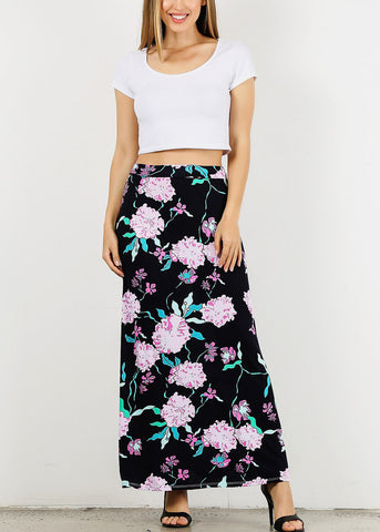 Image of High Waisted Floral Navy Maxi Skirt