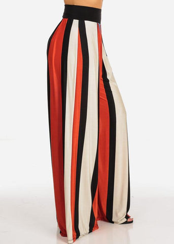 Image of High Waist Stripe Palazzo Pants