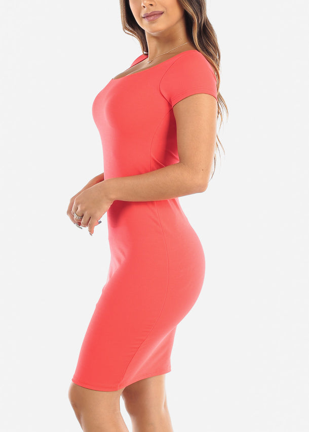 Short Sleeve Coral Bodycon Dress