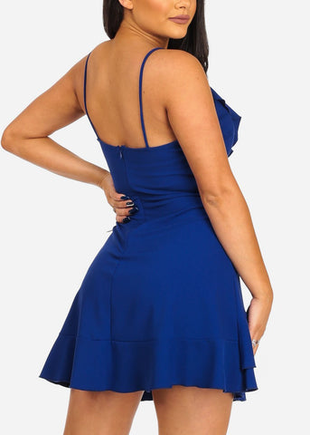 Women's Junior Sexy Going Out Night Out Club Wear Sexy Salsa Night Spaghetti Strap Royal Blue Ruffle Detail Dress
