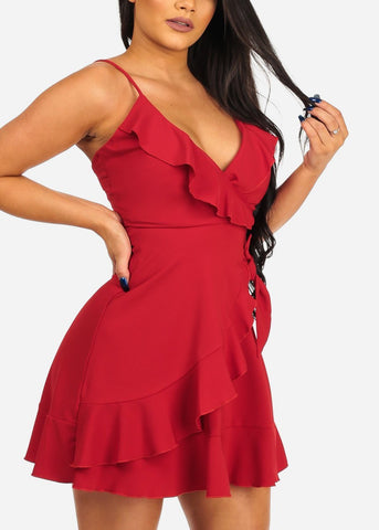 Women's Junior Sexy Going Out Night Out Club Wear Sexy Salsa Night Spaghetti Strap Solid Red Ruffle Detail Dress