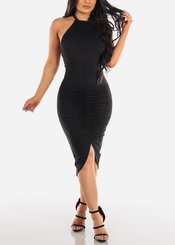Sexy Party Night Out Clubwear Party Summer Backless Halter 2019 Open Back Strapless Ruched Little Black Bodycon Midi Dress