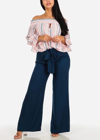 High Rise Navy Wide Leg Paperbag Pants