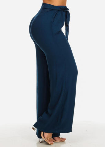 Image of High Rise Navy Wide Leg Paperbag Pants