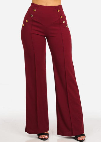 High Rise Burgundy Sailor Pants