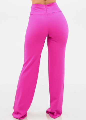High Rise Wide Leg Fuchsia Pants