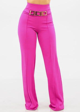 Image of Women's Junior Ladies Sexy Elegant Going Out Clubwear Party Gala High Waisted Solid Fuchsia Hot Pink Wide Legged Palazzo Dressy Pants With Gold Chain detail