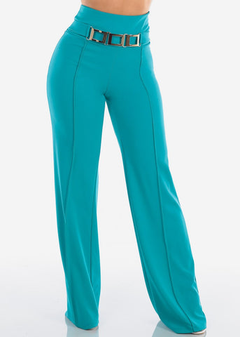 Image of Women's Junior Ladies Sexy Elegant Night Out Party Clubwear High Waisted Wide Legged Palazzo Teal Dressy Pants