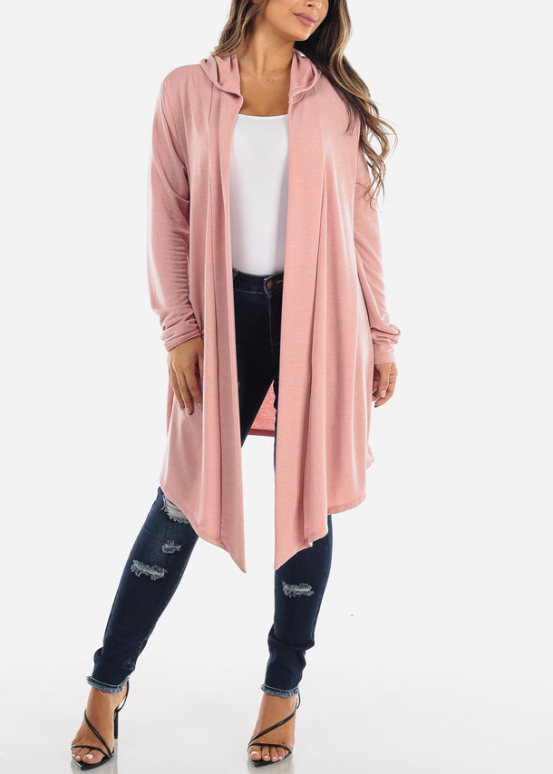 Pink Long Hooded Cardigan