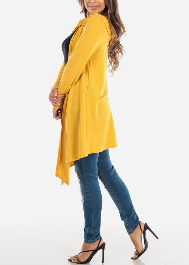 Yellow Long Hooded Cardigan