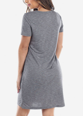 Image of Cute Casual Short Sleeve Slip On Grey Essential Shirt Dress For Women Ladies Junior On Sale Discounted Price