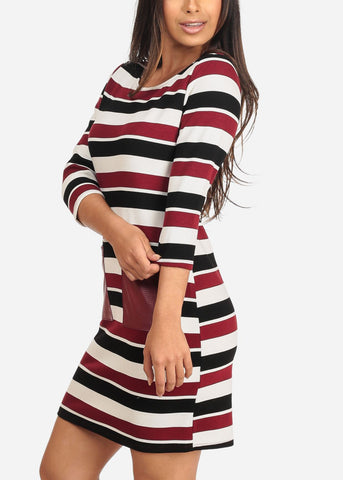 Women's Junior Ladies Casual Cute Multicolor Stripe White And Burgundy All Over Stripe Above Knee Dress With Front Pockets