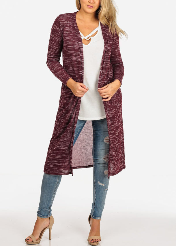 Women's Junior Stylish Cozy Long Sleeve Open Front Heather Print Burgundy Maxi Cardigan
