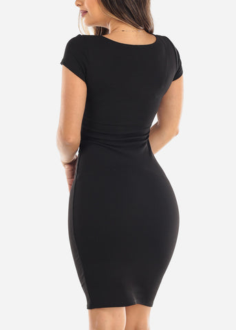 Sexy Black Bodycon Midi Dress