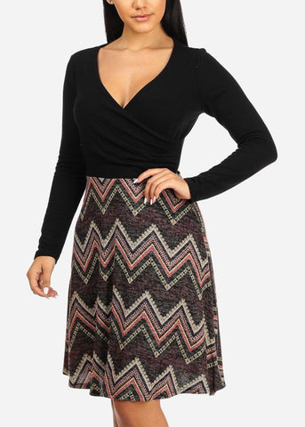 Wrap Front Zig Zag Print Knee Length Dress