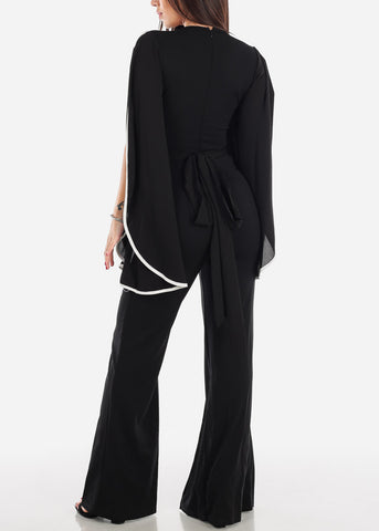 Image of Slit Sleeve Black Jumpsuit