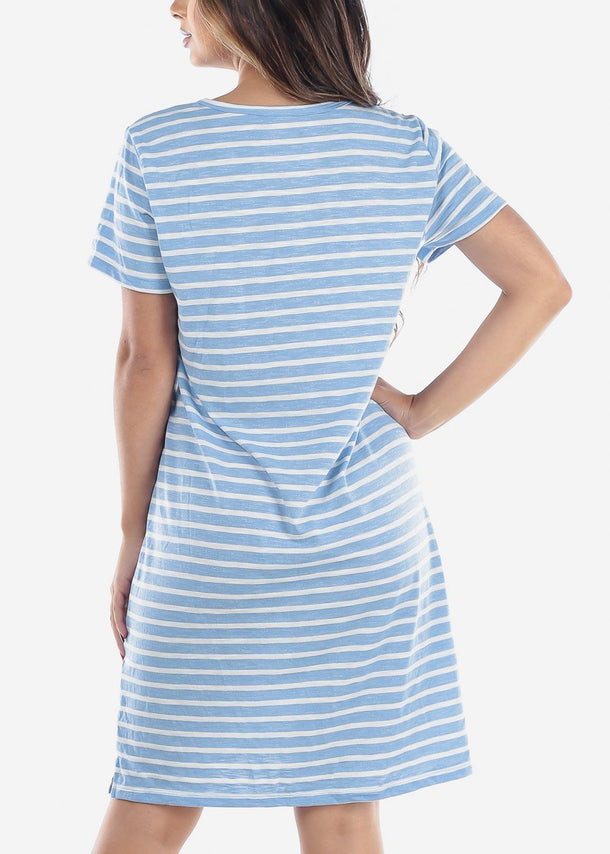 Short Sleeve Light Blue Stripe T-Shirt Dress