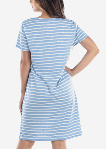 Image of Cute Casual Short Sleeve Light Blue Stripe Loose Fit Dress For Women Ladies Junior For Sale Savings Discount Prices