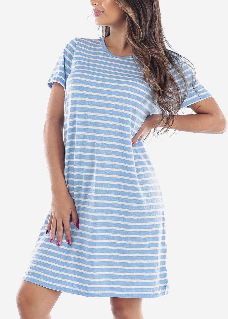 Cute Casual Short Sleeve Light Blue Stripe Loose Fit Dress For Women Ladies Junior For Sale Savings Discount Prices
