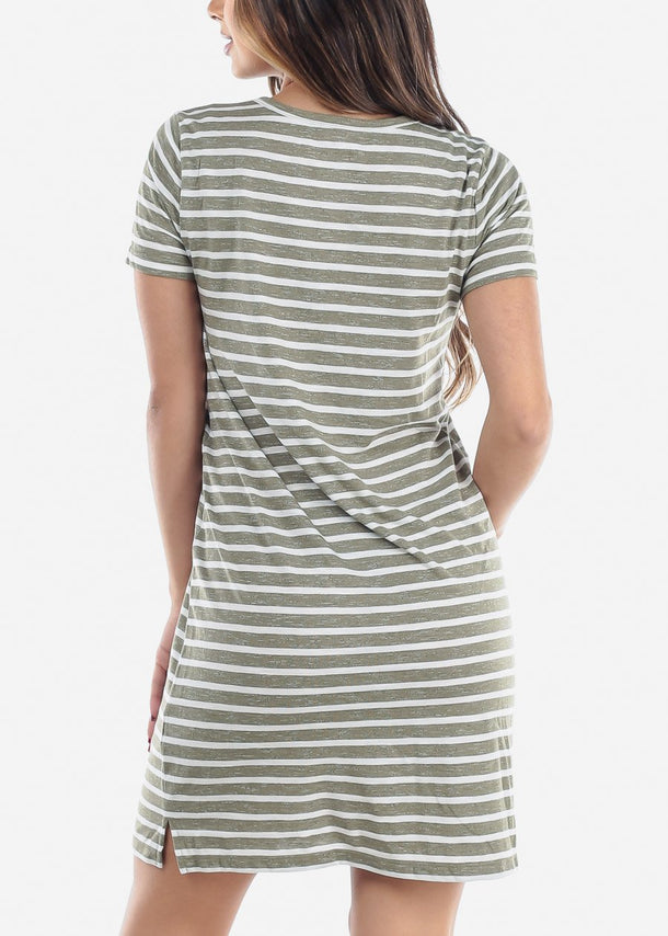 Short Sleeve Olive Stripe T-Shirt Dress