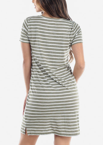 Image of Cute Casual Short Sleeve Olive Stripe Loose Fit Dress For Women Ladies Junior For Sale Savings Discount Prices