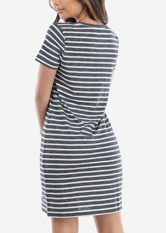 Image of Cute Casual Short Sleeve Dark Grey Stripe Loose Fit Dress For Women Ladies Junior For Sale Savings Discount Prices
