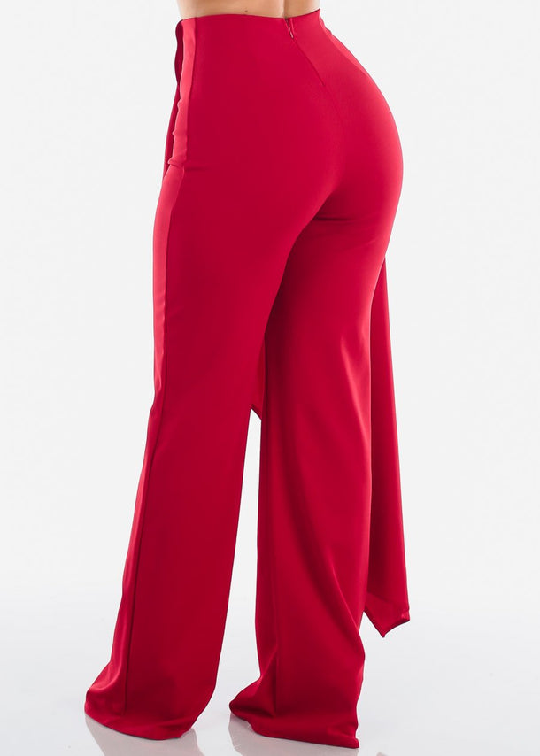 High Rise Wide Leg Red Pants