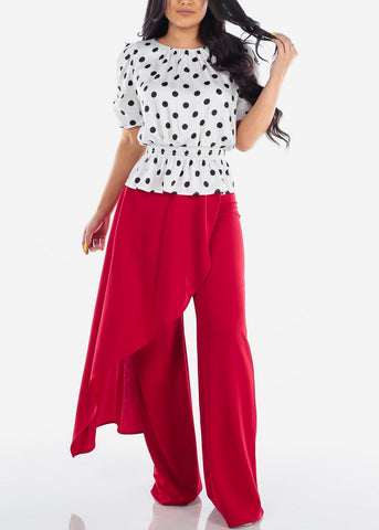 Image of Women's Junior Ladies Sexy Stylish Going Out Clubwear Party Gale High Waisted Wide Legged Front Skirt Overlay Dressy Red Pants