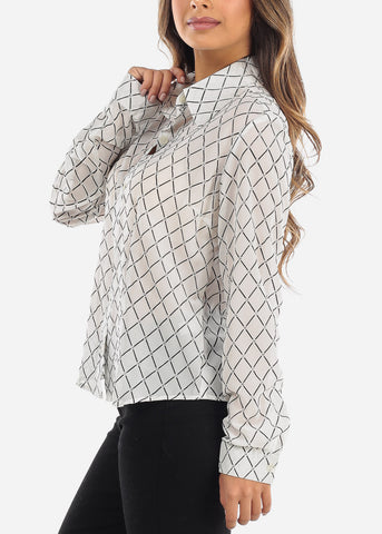 Image of Sheer White Windowpane Blouse 9000WHT
