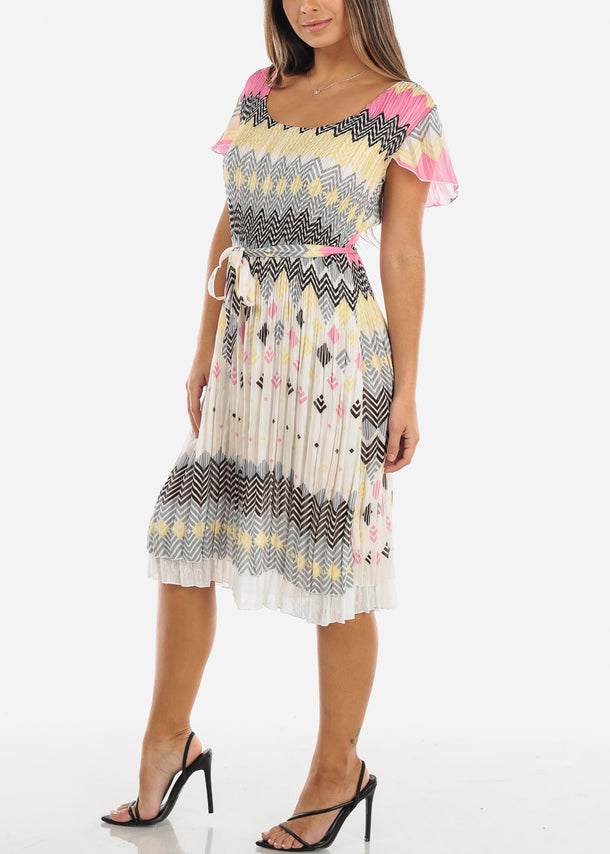 Multi Color Short Sleeve Pleated Dress