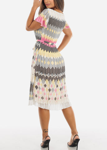 Image of Multi Color Short Sleeve Pleated Dress