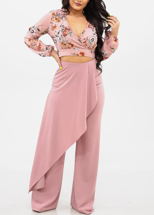 High Rise Wide Leg Mauve Pants
