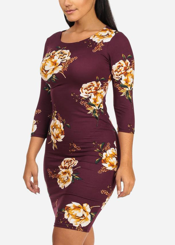 Maroon Floral 3/4 Sleeve Bodycon Dress