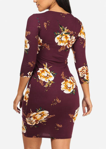 Image of Maroon Floral 3/4 Sleeve Bodycon Dress