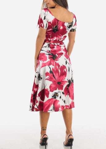 Red Floral Belted A-Line Dress
